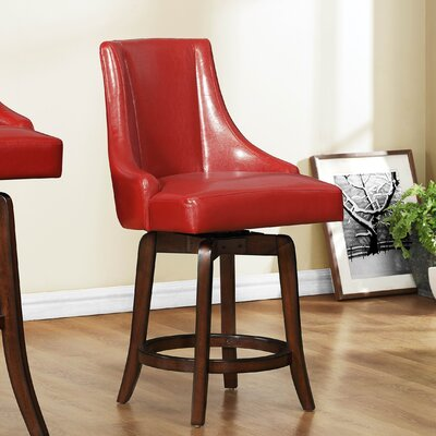 Cajun 24 Swivel Bar Stool (Set of 2) Upholstery: Red