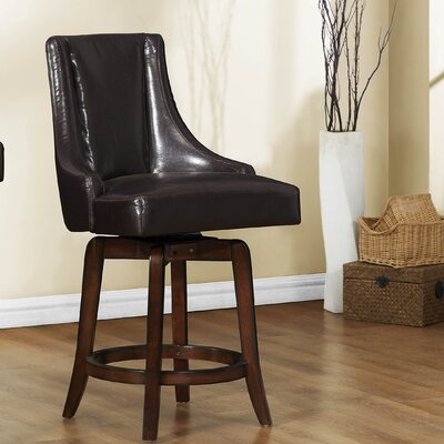 Cajun 24 Swivel Bar Stool (Set of 2) Upholstery: Dark Brown