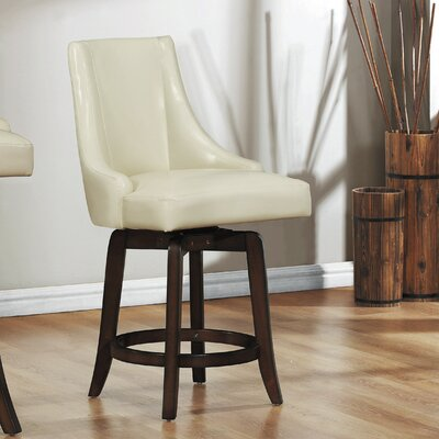 Cajun 24 inch Swivel Bar Stool (Set of 2) Upholstery: Cream