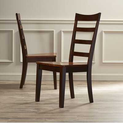 Dixon Ladderback Solid Wood Dining Chair (Set of 2) Finish: Oak/ Espresso
