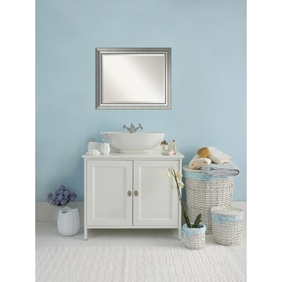 Rectangle Curved Silver Bathroom Wall Mirror Size: 26.88'' H x 32.88'' W