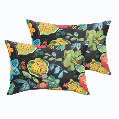 Gilson Floral Indoor/Outdoor Lumbar Pillow Size: 12 H x 24 W x 5 D, Color: Black