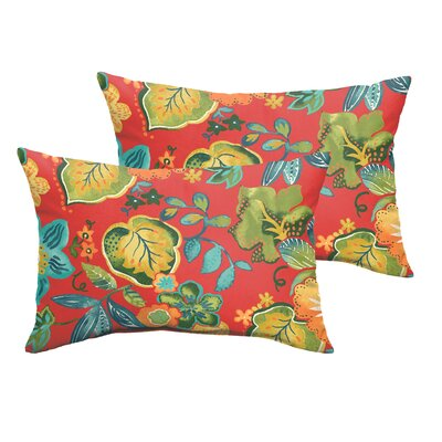 Gilson Floral Indoor/Outdoor Lumbar Pillow Size: 12 H x 24 W x 5 D, Color: Red