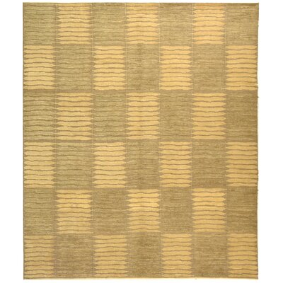 Graybeal Hand-Knotted Sage/Ivory Area Rug Rug Size: 6 x 9