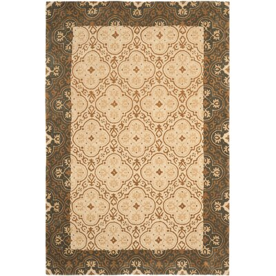 Greenhalgh Hand-Hooked Green/Ivory Area Rug