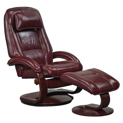 Flathead Lake Leather Recliner and Ottoman Color: Merlot