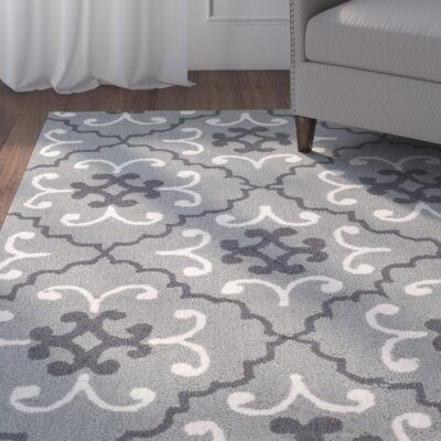 Clandestine Hand-Hooked Gray/Ivory Indoor/Outdoor Area Rug Rug Size: Rectangle 5 x 8