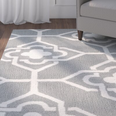 Brazeal Hand-Hooked Gray/Ivory Indoor/Outdoor Area Rug Rug Size: Rectangle 5 x 8