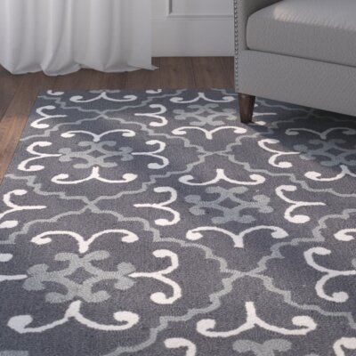 Blau Hand-Hooked Dark Gray/Ivory Indoor/Outdoor Area Rug Rug Size: 36 x 56