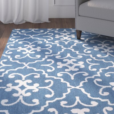 Adams Northwest Hand-Hooked Navy/Ivory Indoor/Outdoor Area Rug Rug Size: 36 x 56