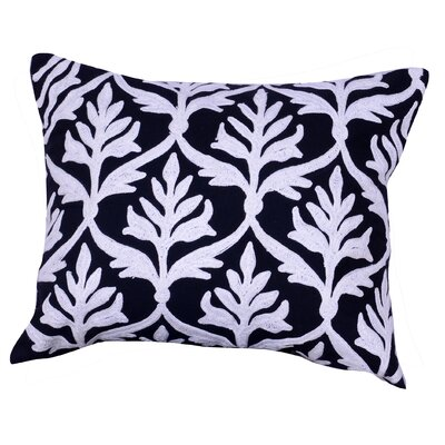 Kennelly Embroidered Lumbar Pillow Color: Black
