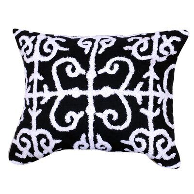 Kennison Embroidered Cotton Lumbar Pillow in Blue Color: Black