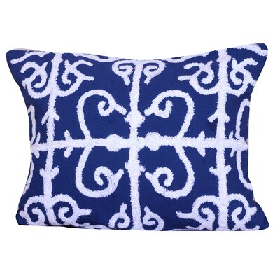 Kennison Embroidered Cotton Lumbar Pillow in Blue Color: Blue