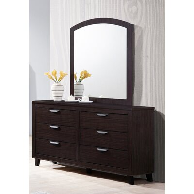 Copeland 6 Drawer Double Dresser with Mirror Color: Walnut