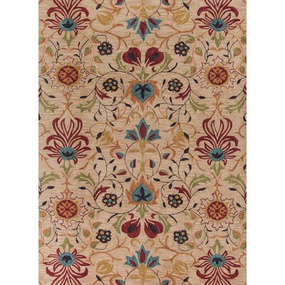 Guillory Hand-Hooked Beige/Red Area Rug Rug Size: Rectangle 23 x 39
