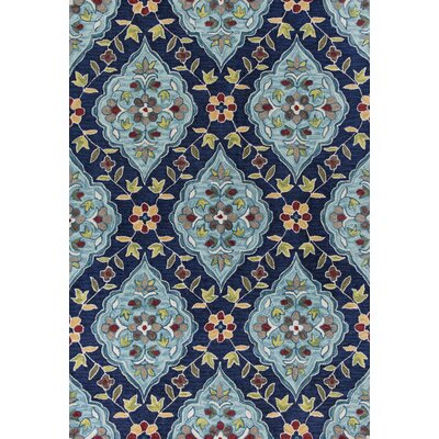 Guillory Hand-Hooked Navy Blue/Yellow Area Rug Rug Size: 5 x 76