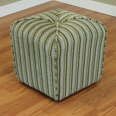 Coggins Stripe Upholstered Ottoman Color: Green