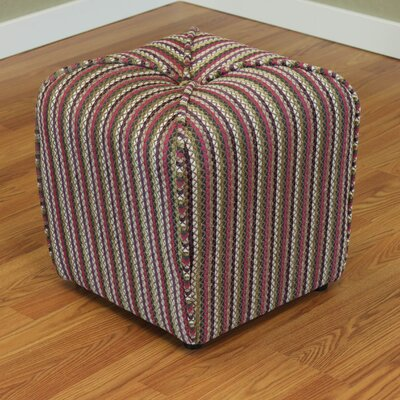 Coggins Stripe Upholstered Ottoman Color: Fushia