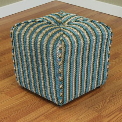 Coggins Stripe Upholstered Ottoman Color: Blue