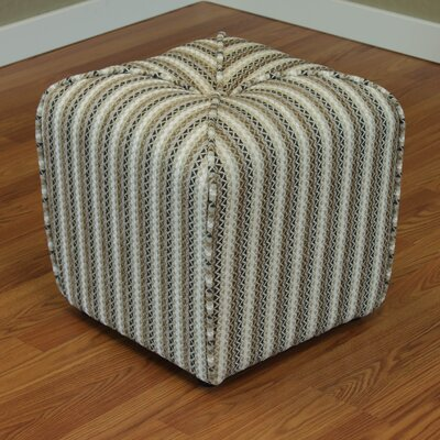 Coggins Stripe Upholstered Ottoman Color: Sand