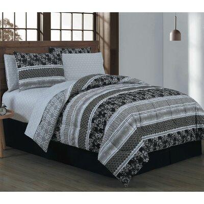 Craddock 8 Piece Bed in a Bag Set Size: Queen, Color: Black