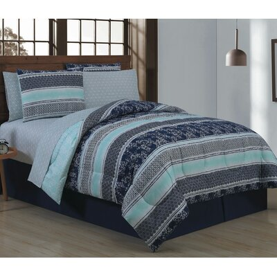 Craddock 8 Piece Bed in a Bag Set Size: Queen, Color: Blue