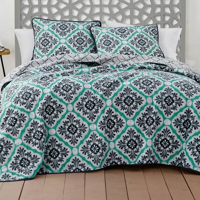 Darden 3 Piece Quilt Set Size: Queen, Color: Green