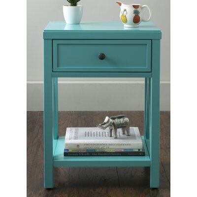 Laurel End Table With Storage� Color: Turquoise