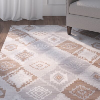 Abrahamic Cream / Camel Area Rug Rug Size: Square 67