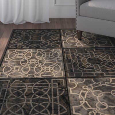 Anderle Gray/Black Area Rug Rug Size: 67 x 98