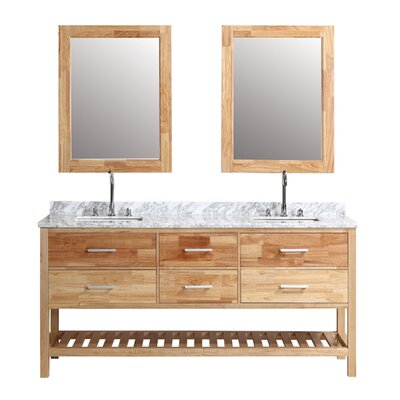 Halcomb 72 Double Bathroom Vanity Set with Mirror Base Finish: Oak