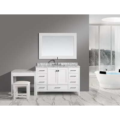 Middletown 78 Single Bathroom Vanity Set with Mirror Base Finish: White