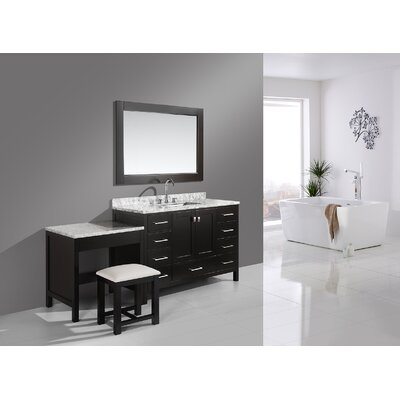 Middletown 78 Single Bathroom Vanity Set with Mirror Base Finish: Espresso