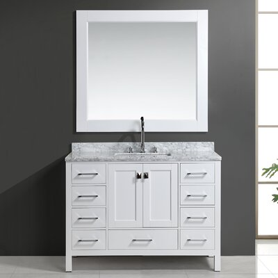 Middletown 48 Single Bathroom Vanity Set with Mirror Base Finish: White