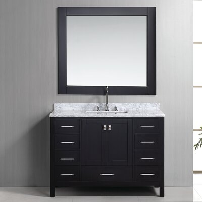 Middletown 48 Single Bathroom Vanity Set with Mirror Base Finish: Espresso