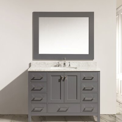Middletown 48 Single Bathroom Vanity Set with Mirror Base Finish: Gray