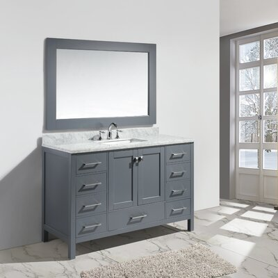 Middletown 54 Single Bathroom Vanity Set with Mirror Base Finish: Gray