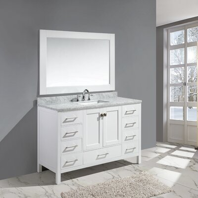 Halcomb 54 Single Bathroom Vanity Set with Mirror Base Finish: White