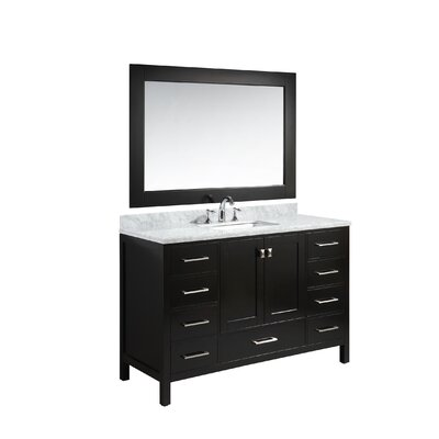 Middletown 54 Single Bathroom Vanity Set with Mirror Base Finish: Espresso