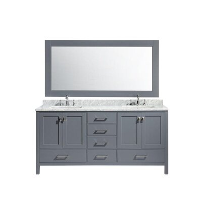 Middletown 72 Double Bathroom Vanity Set with Mirror Base Finish: Gray