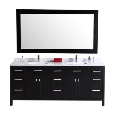Middletown 78 Double Bathroom Vanity Set with Mirror Base Finish: Espresso