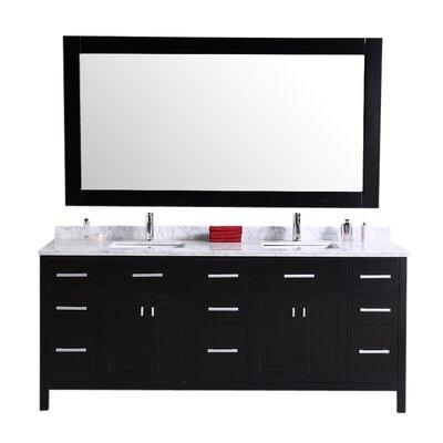 Halcomb 78 Double Bathroom Vanity Set with Mirror Base Finish: Espresso