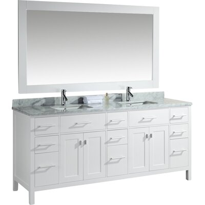 Middletown 78 Double Bathroom Vanity Set with Mirror Base Finish: White