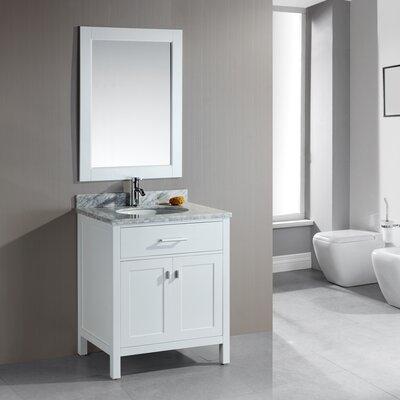 Middletown 30 Single Bathroom Vanity Set with Mirror Base Finish: White