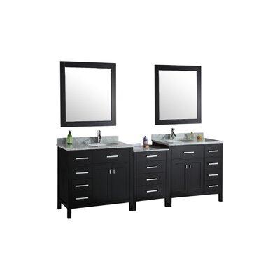 Halcomb 92 Double Bathroom Vanity Set with Mirrors Base Finish: Espresso