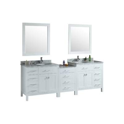 Middletown 92 Double Bathroom Vanity Set with Mirrors Base Finish: White