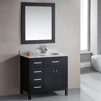 Middletown 36 Single Bathroom Vanity Set with Mirror Base Finish: Espresso
