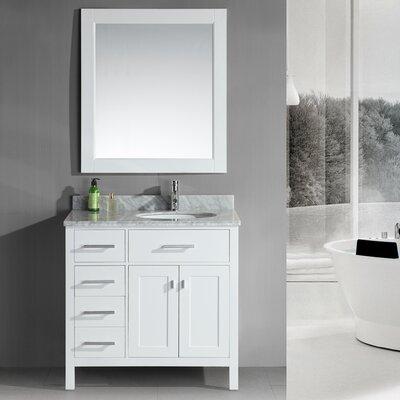 Halcomb 36 Single Bathroom Vanity Set with Mirror Base Finish: White