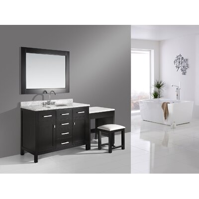Halcomb 78 Single Bathroom Vanity Set with Mirror Base Finish: Espresso