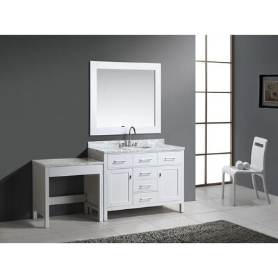 Halcomb 78 Single Bathroom Vanity Set with Mirror Base Finish: White